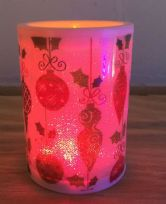 LED Battery Operated Colour Changing Christmas Candle ~ Traditional Xmas Bauble (C)